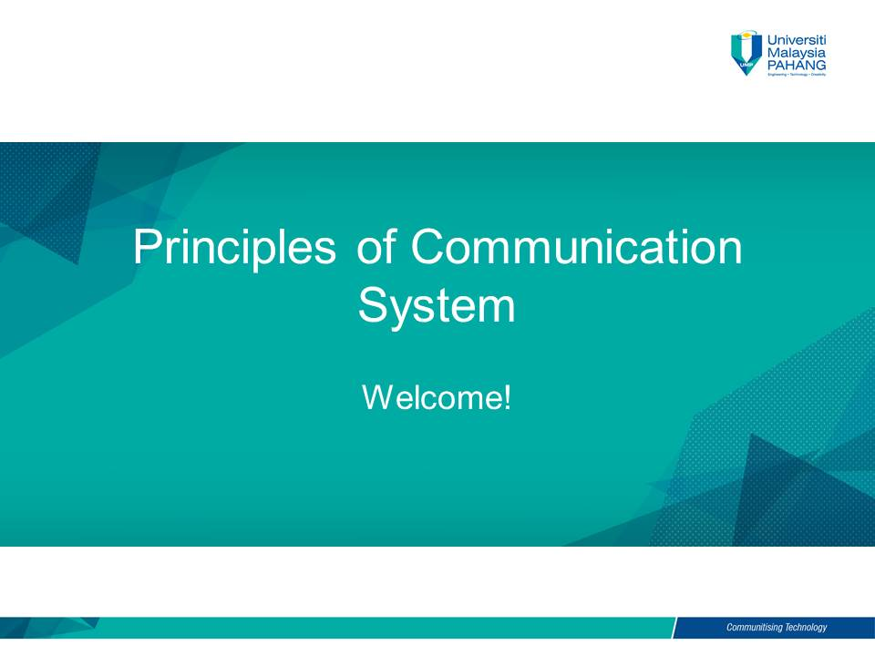 Course Principles Of Communication System
